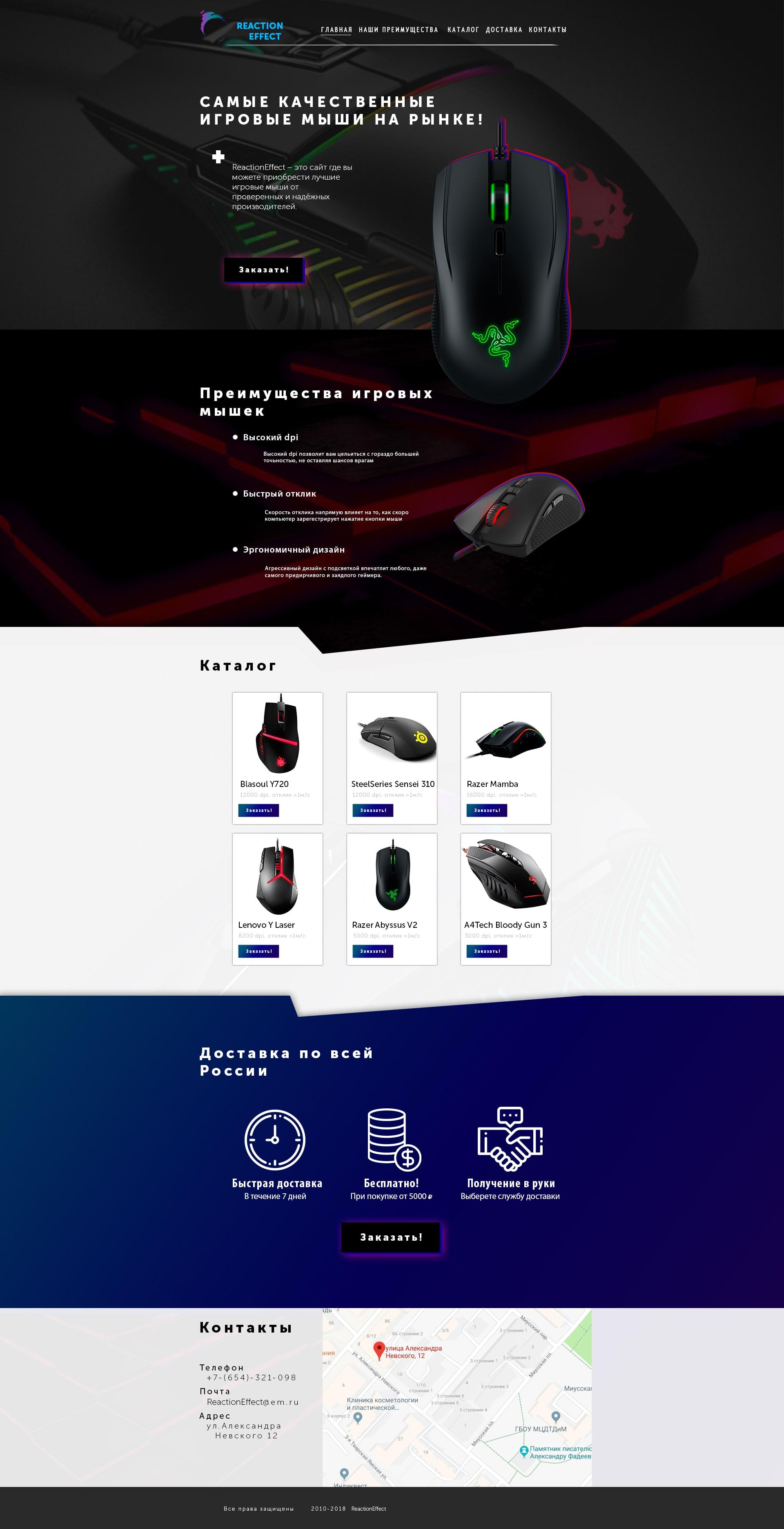 Landing Page для продажи игровых мышек